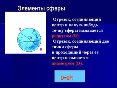 Элементы сферы R O Отрезок, соединяющий центр и какую-нибудь точку сферы назы...