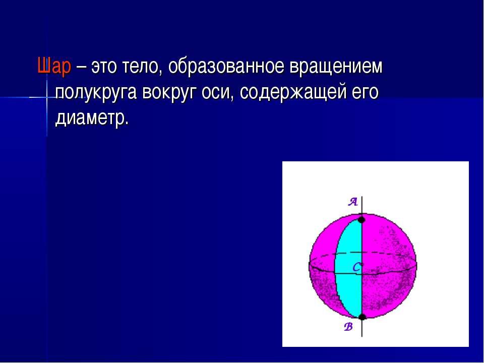 Шар – это тело, образованное вращением полукруга вокруг оси, содержащей его д...