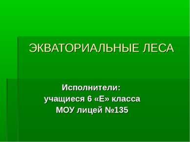 ЭКВАТОРИАЛЬНЫЕ ЛЕСА Исполнители: учащиеся 6 «Е» класса МОУ лицей №135