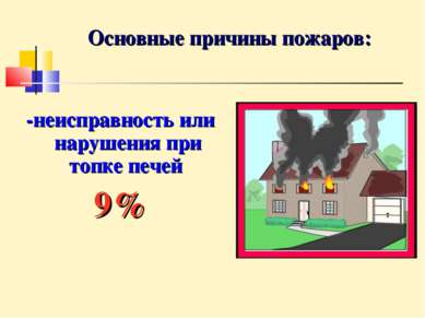 Основные причины пожаров: -неисправность или нарушения при топке печей 9%