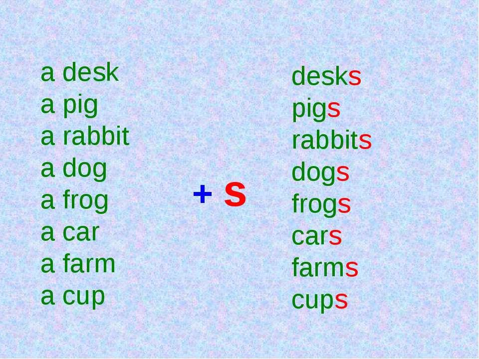 a desk a pig a rabbit a dog a frog a car a farm a cup + s desks pigs rabbits ...