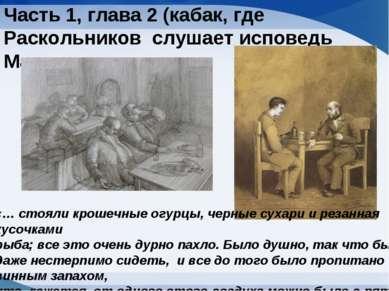 Часть 1, глава 2 (кабак, где Раскольников слушает исповедь Мармеладова «… сто...