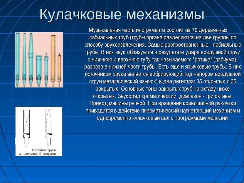 Кулачковые механизмы Музыкальная часть инструмента состоит из 70 деревянных л...