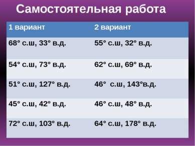 Самостоятельная работа 1 вариант 2 вариант 68°с.ш, 33° в.д. 55°с.ш, 32° в.д. ...