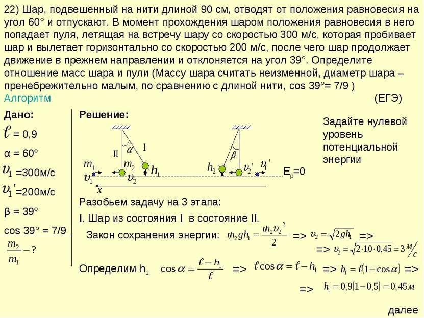 22) Шар, подвешенный на нити длиной 90 см, отводят от положения равновесия на...