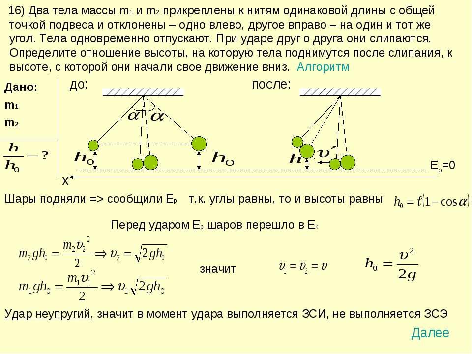 16) Два тела массы m1 и m2 прикреплены к нитям одинаковой длины с общей точко...
