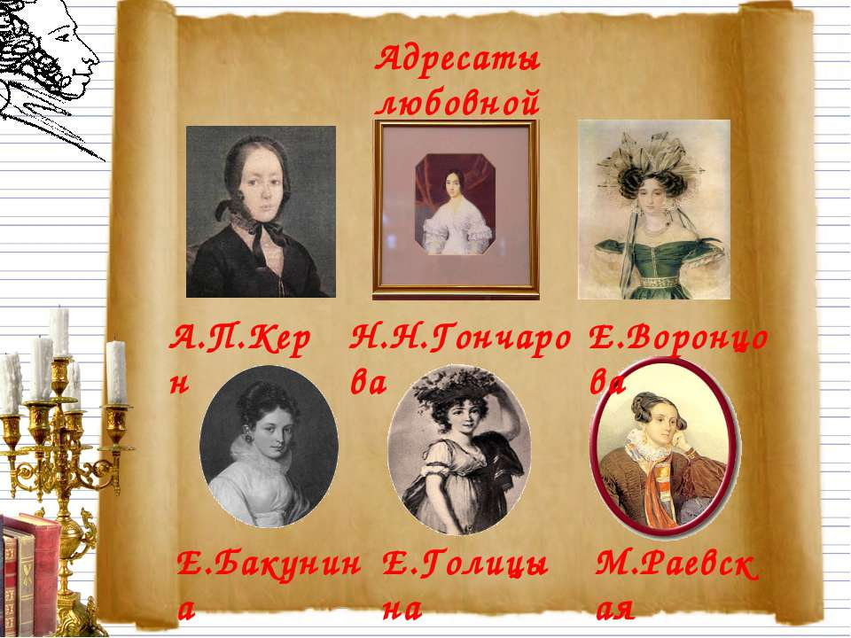 Адресаты любовной лирики. А.П.Керн Н.Н.Гончарова Е.Воронцова Е.Бакунина Е.Гол...