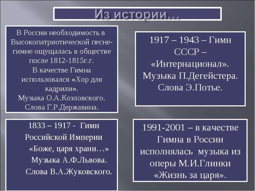 1833 – 1917 - Гимн Российской Империи «Боже, царя храни…» Музыка А.Ф.Львова. ...
