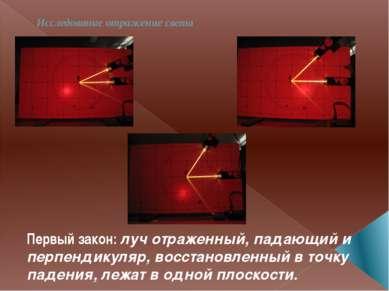 Исследование отражение света Первый закон: луч отраженный, падающий и перпенд...