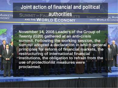 November 14, 2008 Leaders of the Group of Twenty (G20) gathered at an anti-cr...