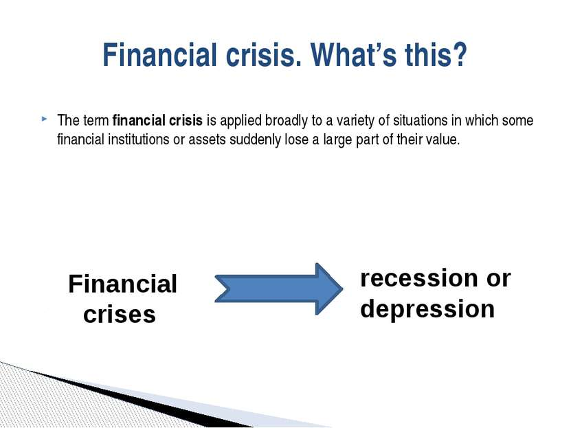 The termfinancial crisisis applied broadly to a variety of situations in wh...