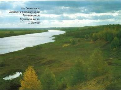 Но более всего Любовь к родному краю Меня томила Мучила и жгла. С. Есенин