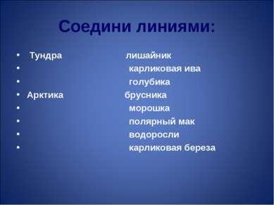 Соедини линиями: Тундра лишайник карликовая ива голубика Арктика брусника мор...
