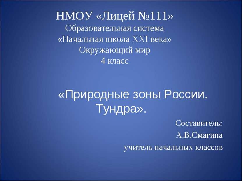 НМОУ «Лицей №111» Образовательная система «Начальная школа XXI века» Окружающ...