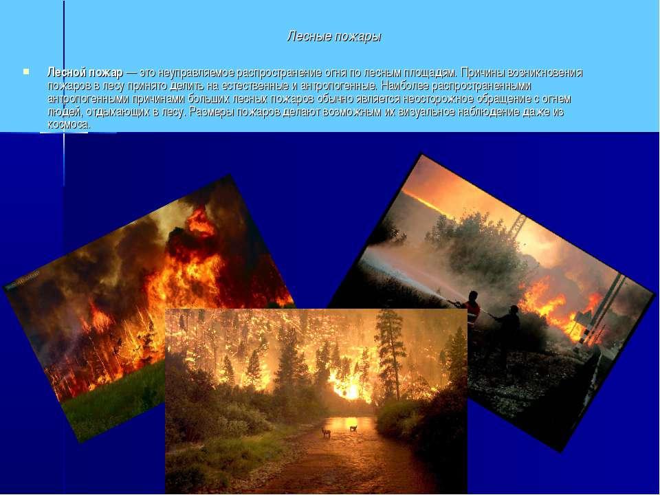 Лесные пожары Лесной пожар— это неуправляемое распространение огня по лесным...