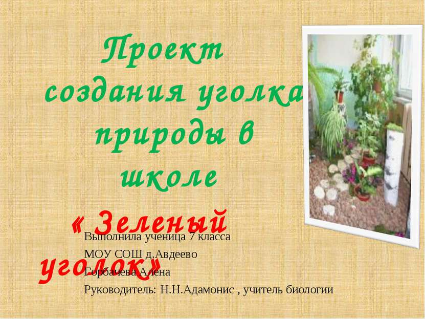 Проект создания уголка природы в школе « Зеленый уголок» Выполнила ученица 7 ...