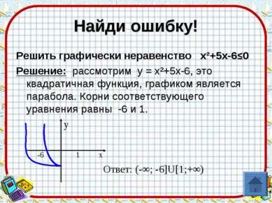 Найди ошибку! Решить графически неравенство х²+5х-6≤0 Решение: рассмотрим у =...
