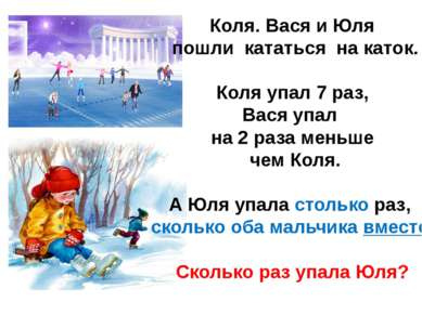 Коля. Вася и Юля пошли кататься на каток. Коля упал 7 раз, Вася упал на 2 раз...