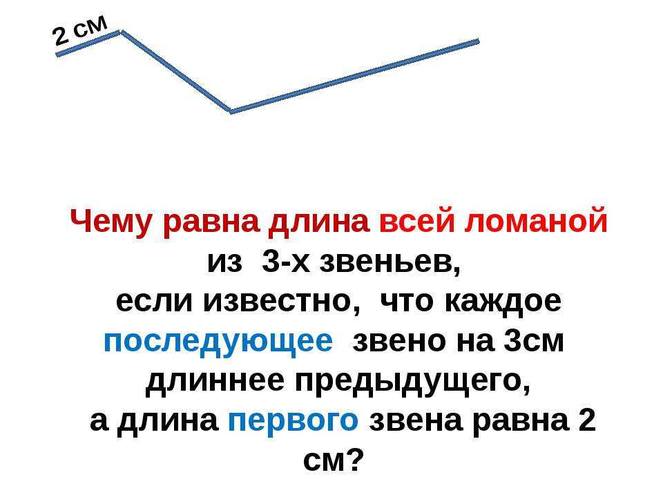 2 см Чему равна длина всей ломаной из 3-х звеньев, если известно, что каждое ...