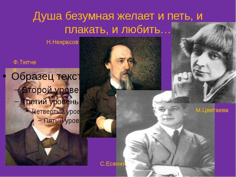 Душа безумная желает и петь, и плакать, и любить… Ф.Тютчев Н.Некрасов С.Есени...