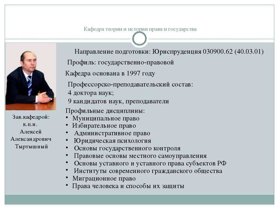 Кафедра теории и истории права и государства Профиль: государственно-правовой...