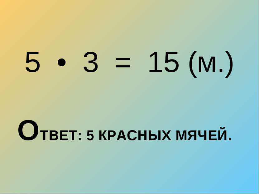5 • 3 = 15 (м.) ОТВЕТ: 5 КРАСНЫХ МЯЧЕЙ.