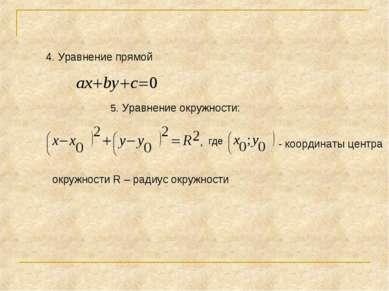 4. Уравнение прямой где 5. Уравнение окружности: - координаты центра окружнос...