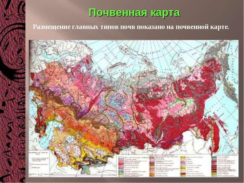 Почвенная карта Размещение главных типов почв показано на почвенной карте.