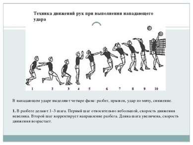 Техника движений рук при выполнении нападающего удара В нападающем ударе выде...