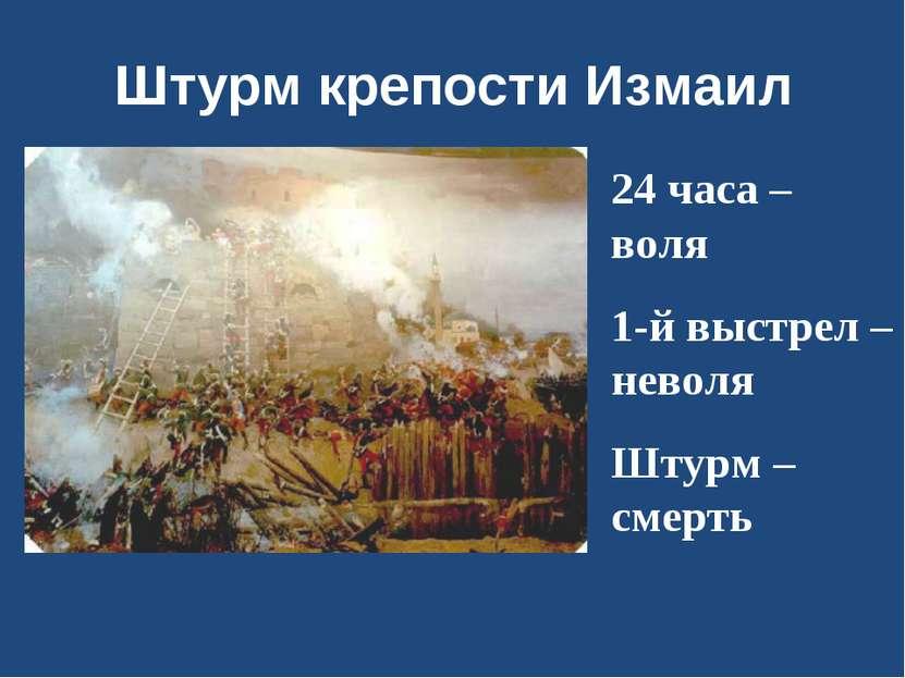 Штурм крепости Измаил 24 часа – воля 1-й выстрел – неволя Штурм – смерть