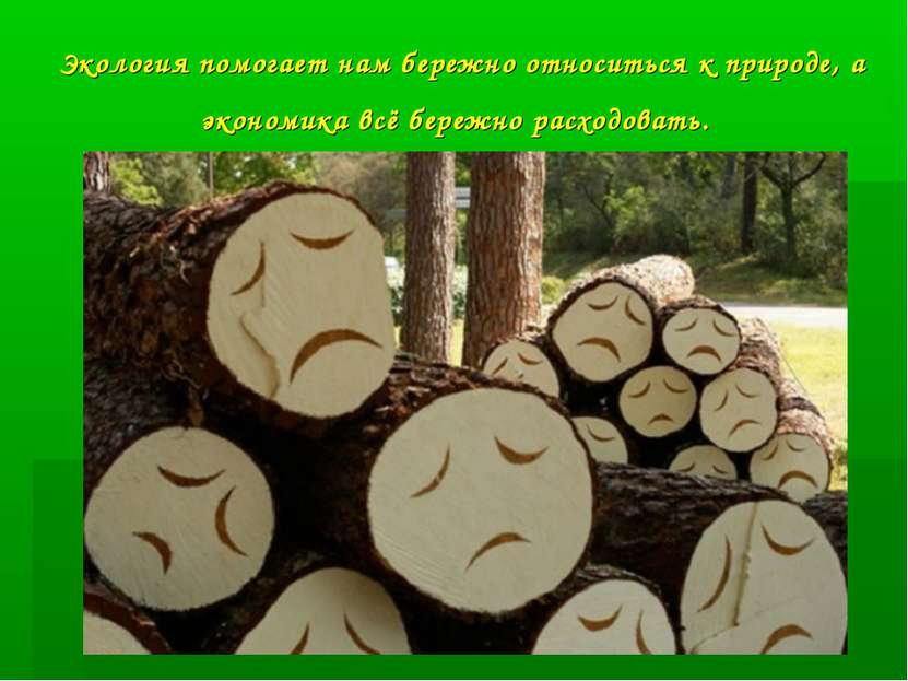 Экология помогает нам бережно относиться к природе, а экономика всё бережно р...