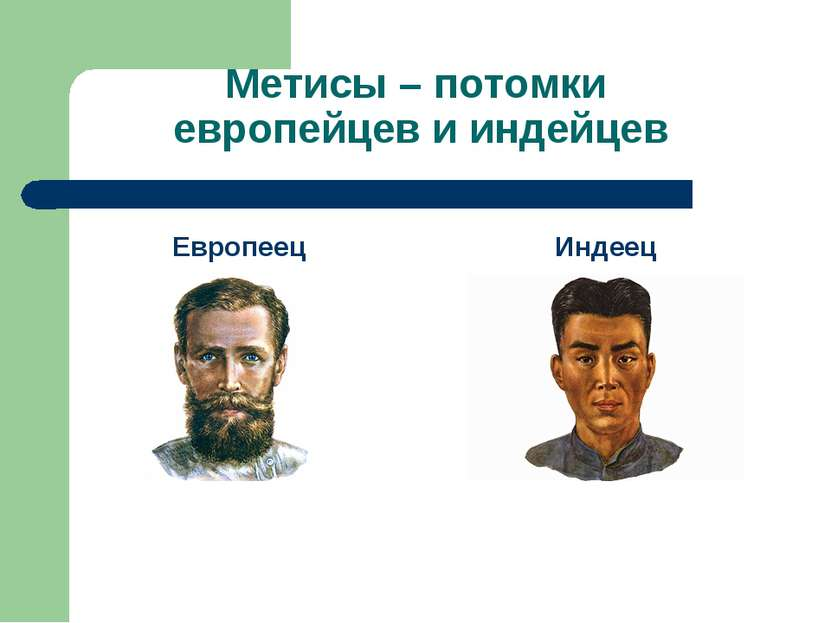 Метисы – потомки европейцев и индейцев Европеец Индеец