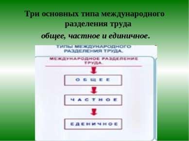 Три основных типа международного разделения труда общее, частное и единичное.