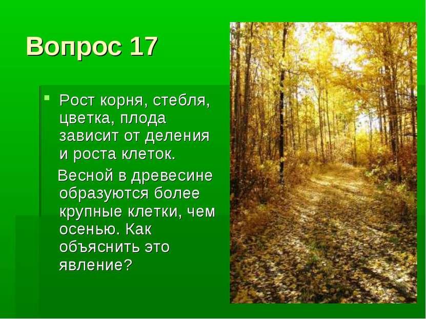 Вопрос 17 Рост корня, стебля, цветка, плода зависит от деления и роста клеток...