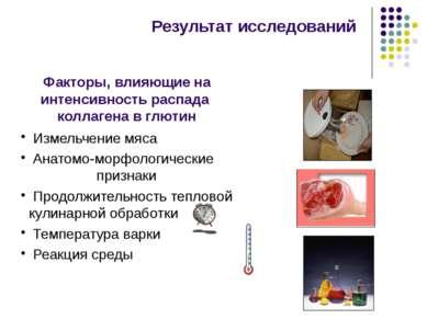Результат исследований Измельчение мяса Анатомо-морфологические признаки Прод...
