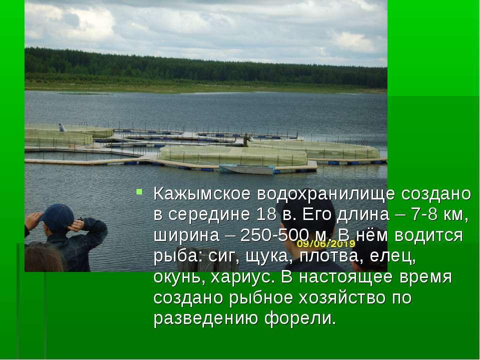 Кажымское водохранилище создано в середине 18 в. Его длина – 7-8 км, ширина –...