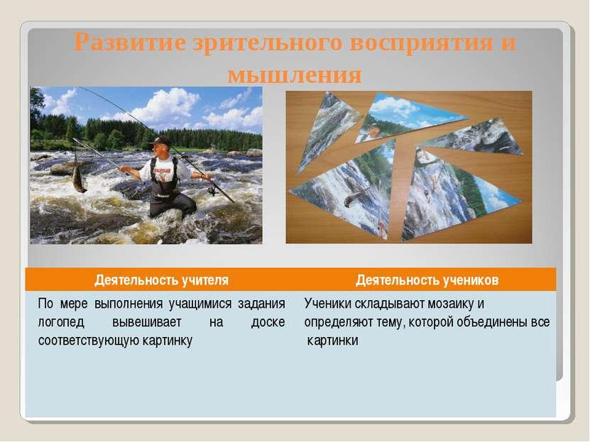 Развитие зрительного восприятия и мышления Деятельность учителя Деятельность ...