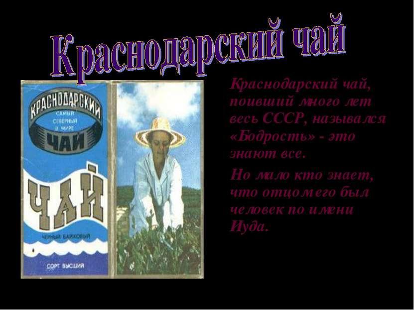 Краснодарский чай, поивший много лет весь СССР, назывался «Бодрость» - это зн...