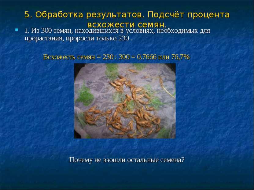 5. Обработка результатов. Подсчёт процента всхожести семян. 1. Из 300 семян, ...