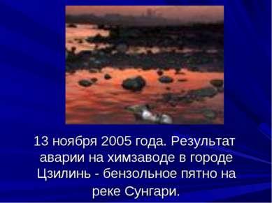 13 ноября 2005 года. Результат аварии на химзаводе в городе Цзилинь - бензоль...