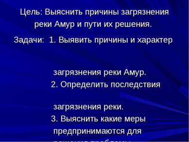 Цель: Выяснить причины загрязнения реки Амур и пути их решения. Задачи: 1. Вы...