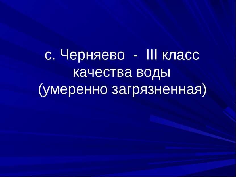 с. Черняево - III класс качества воды (умеренно загрязненная)