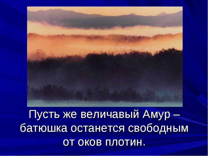 Пусть же величавый Амур – батюшка останется свободным от оков плотин.