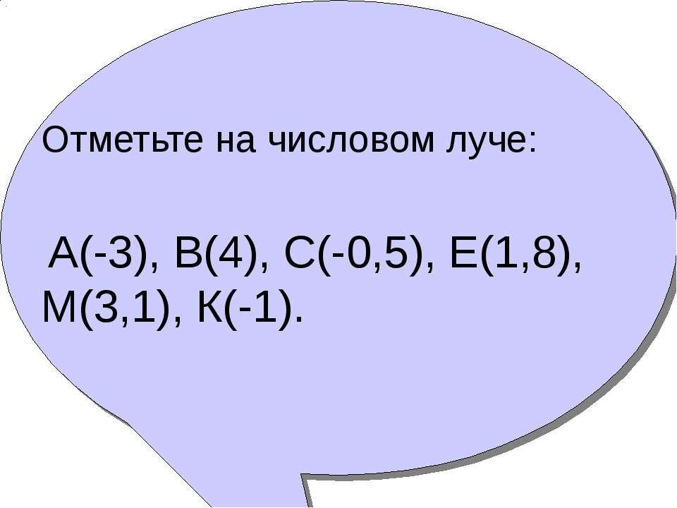 Отметьте на числовом луче: А(-3), В(4), С(-0,5), Е(1,8), М(3,1), К(-1).