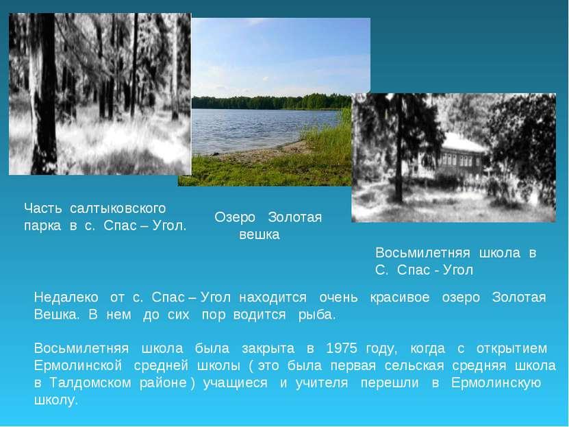 Часть салтыковского парка в с. Спас – Угол. Озеро Золотая вешка Восьмилетняя ...