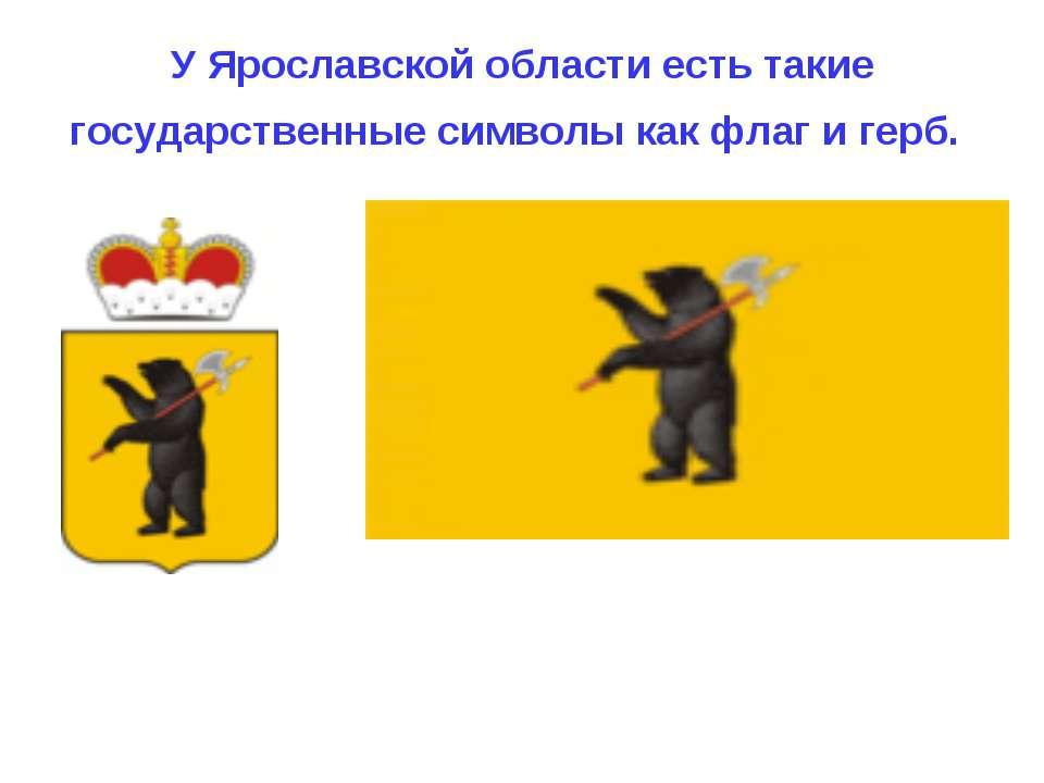 У Ярославской области есть такие государственные символы как флаг и герб.