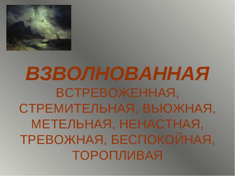 ВЗВОЛНОВАННАЯ ВСТРЕВОЖЕННАЯ, СТРЕМИТЕЛЬНАЯ, ВЬЮЖНАЯ, МЕТЕЛЬНАЯ, НЕНАСТНАЯ, ТР...