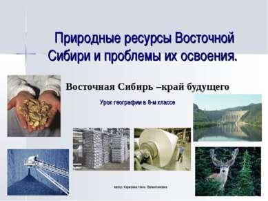 Природные ресурсы Восточной Сибири и проблемы их освоения. Восточная Сибирь –...