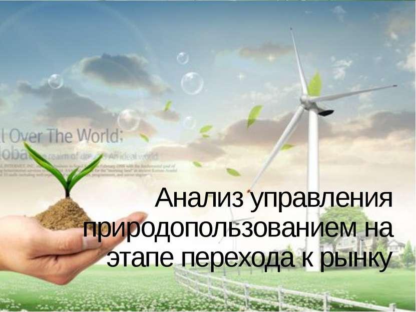 Анализ управления природопользованием на этапе перехода к рынку