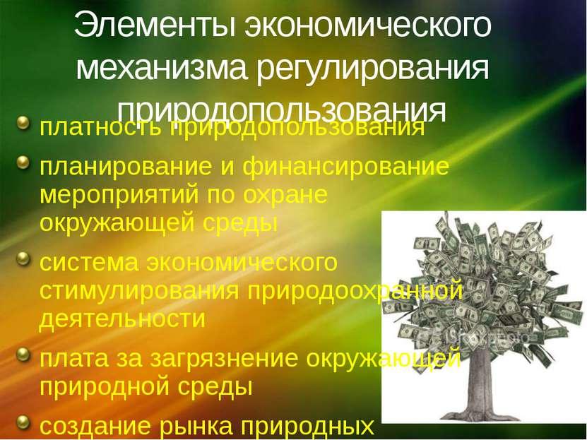 Элементы экономического механизма регулирования природопользования платность ...